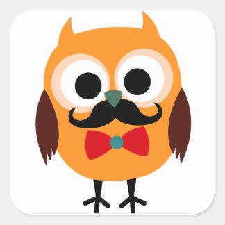 Búho retro con el bigote del bigote del manillar pegatina cuadrada