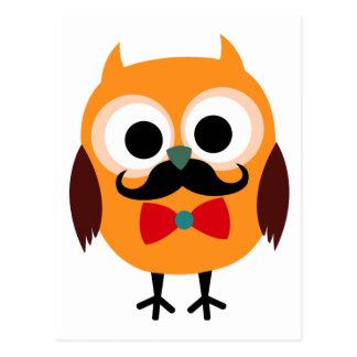 Búho retro con el bigote del bigote del manillar postales