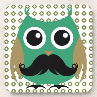 Búho retro con el bigote Stache del bigote Posavasos De Bebida