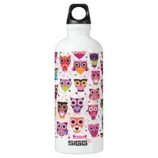 Búho retro de los niños botella de agua