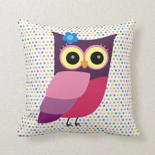 Búho retro del arte popular en fondo colorido almohadas