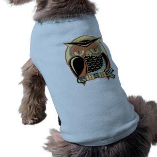Búho retro del estilo playera sin mangas para perro