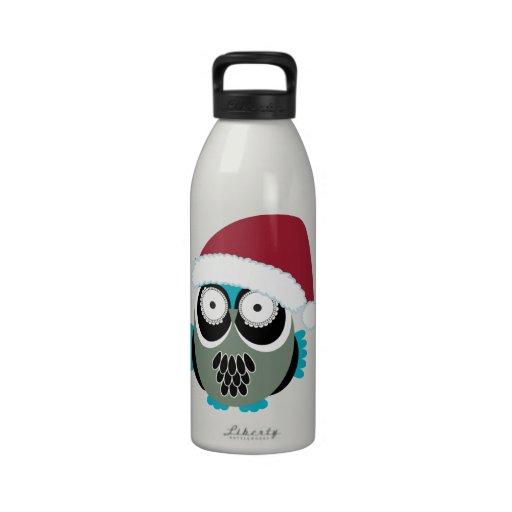 Búho retro Santa del navidad Botella De Beber