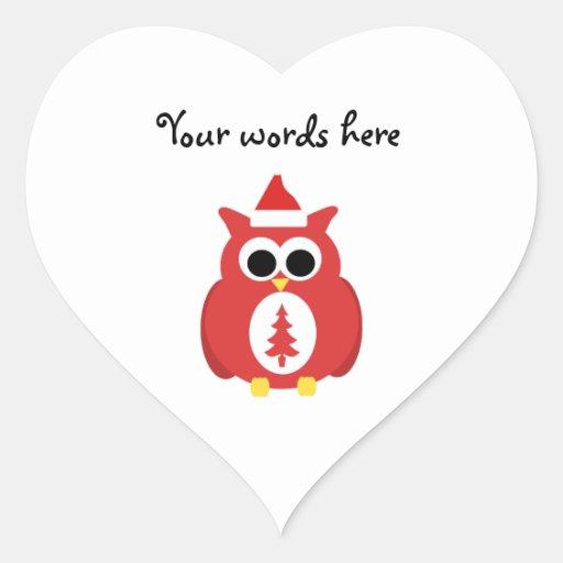Búho rojo de santa pegatina en forma de corazón