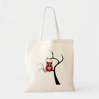 Búho rojo del cráneo del azúcar en bolso del árbol bolsa tela barata