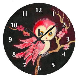 Búho rojo dulce relojes de pared