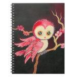 Búho rojo dulce spiral notebooks