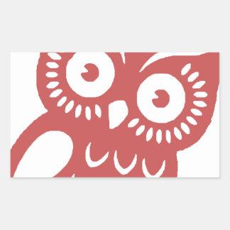 Búho rojo fresco pegatina rectangular