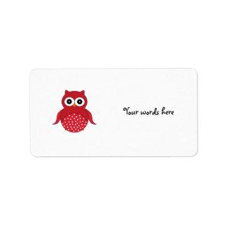 Búho rojo lindo etiqueta de dirección