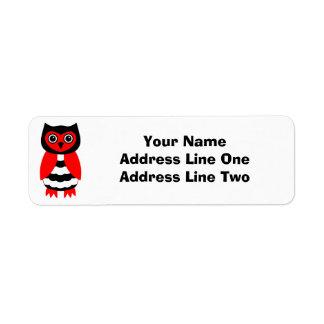 Búho rojo y negro etiquetas de remite