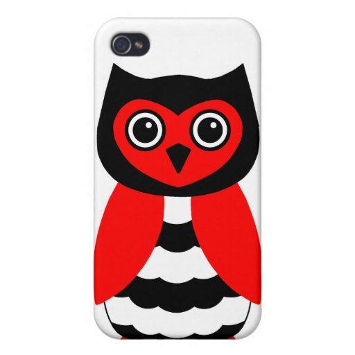 Búho rojo y negro iPhone 4 protectores