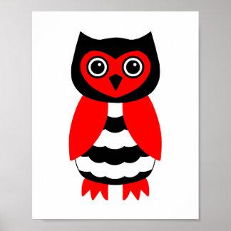 Búho rojo y negro impresiones