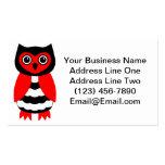 Búho rojo y negro tarjeta de negocio