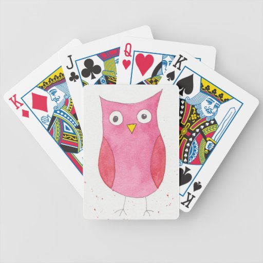 Búho rosado baraja de cartas