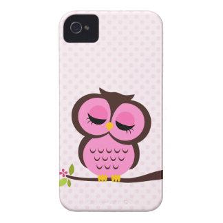 Búho rosado bonito iPhone 4 funda