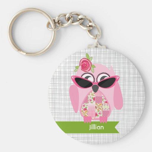 Búho rosado con llavero de las gafas de sol
