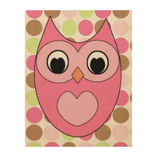 Búho rosado con los lunares cuadros de madera