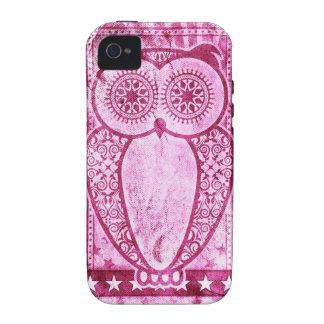 Búho rosado de Hootie de los vaqueros de StellaRoo iPhone 4/4S Carcasas