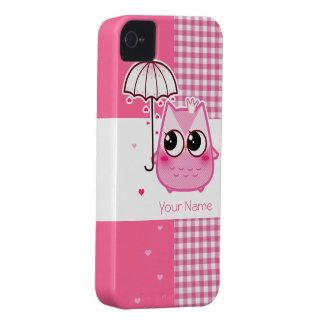 Búho rosado de Kawaii - personalice Case-Mate iPhone 4 Protectores