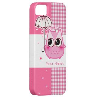 Búho rosado de Kawaii - personalice Funda Para iPhone 5 Barely There
