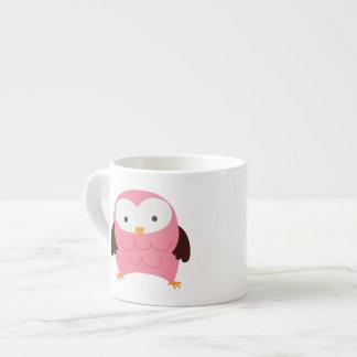 Búho rosado de la primavera taza espresso