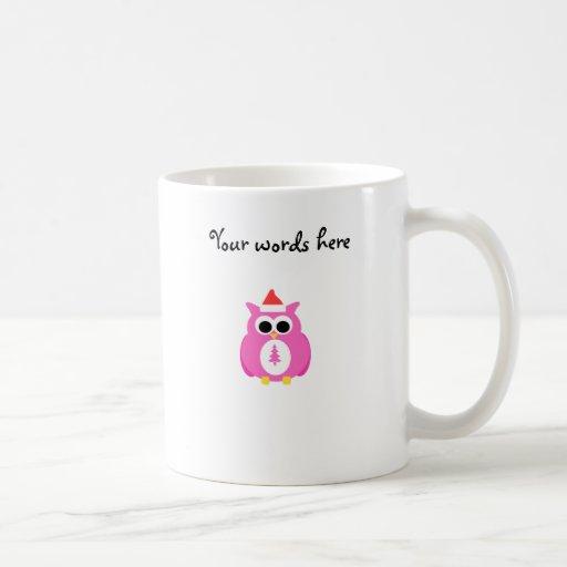 Búho rosado de santa tazas
