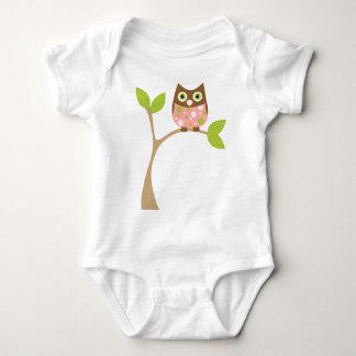 Búho rosado del bebé body para bebé