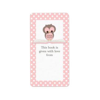 Búho rosado del bebé en etiqueta del Bookplate del Etiquetas De Dirección