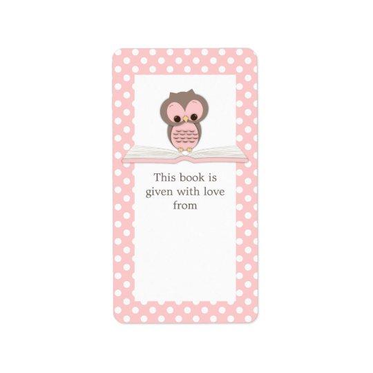 Búho rosado del bebé en etiqueta del Bookplate del Etiqueta De Dirección