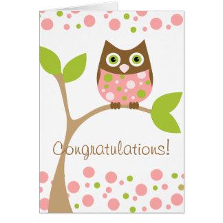 Búho rosado del bebé tarjeta de felicitación