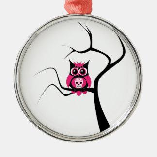 Búho rosado del cráneo del azúcar en el ornamento ornamento para arbol de navidad