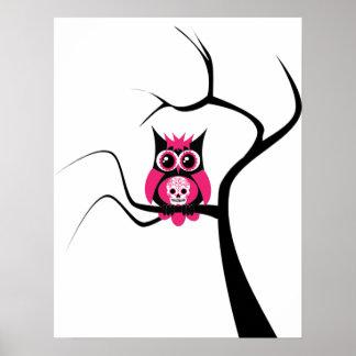 Búho rosado del cráneo del azúcar en poster del ár