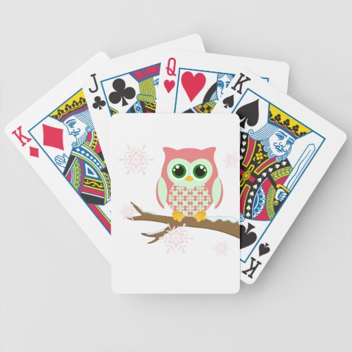 Búho rosado del invierno baraja de cartas