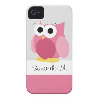 Búho rosado divertido - caja personalizada del iPh iPhone 4 Cobertura
