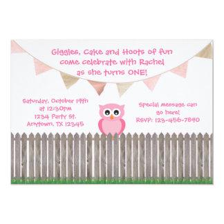 Búho rosado en la invitación del cumpleaños de la invitación 12,7 x 17,8 cm