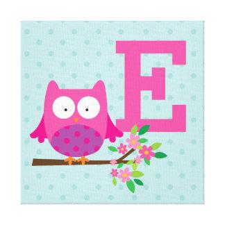 Búho rosado en una lona personalizada rama impresión en tela