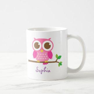 Búho rosado femenino lindo para los chicas taza de café