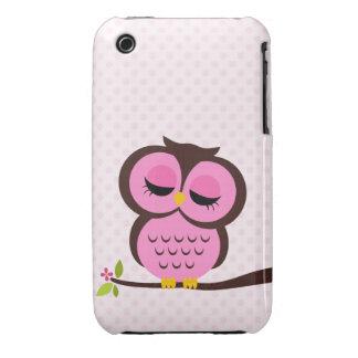 Búho rosado iPhone 3 Case-Mate cárcasas