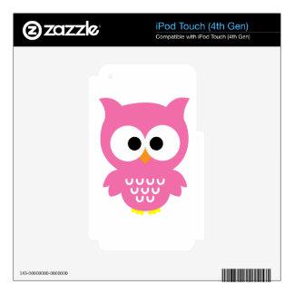 Búho rosado iPod touch 4G calcomanías