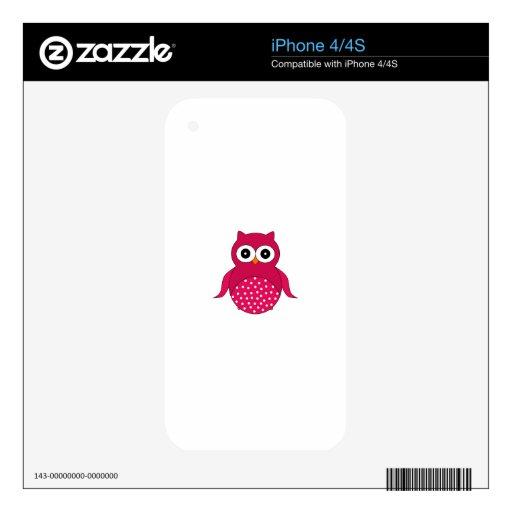 Búho rosado lindo calcomanías para el iPhone 4
