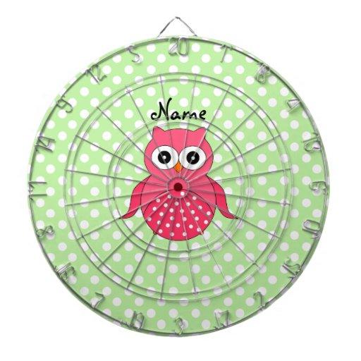 Búho rosado lindo conocido personalizado tablero de dardos