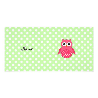 Búho rosado lindo conocido personalizado tarjetas fotograficas