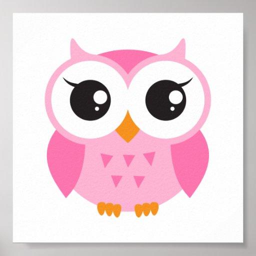 Búho rosado lindo del bebé del dibujo animado póster   Zazzle