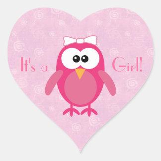 Búho rosado lindo del dibujo animado su un nuevo b colcomanias de corazon personalizadas