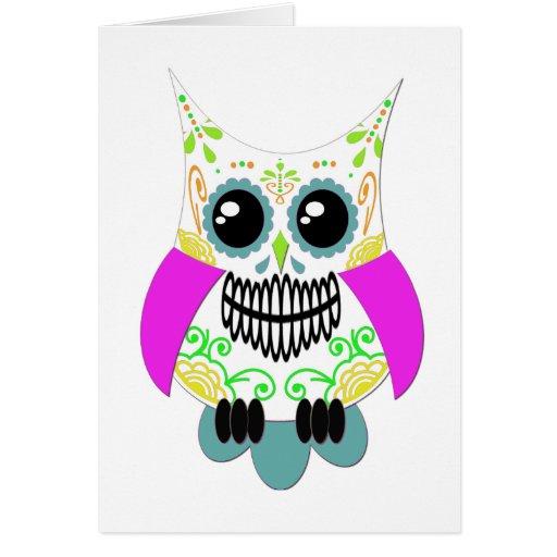 Búho rosado multi blanco del cráneo del azúcar tarjeta de felicitación