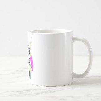 Búho rosado multi blanco del cráneo del azúcar taza clásica