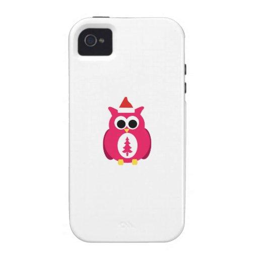 Búho rosado oscuro de santa Case-Mate iPhone 4 carcasas