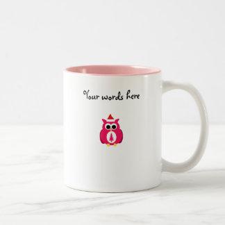 Búho rosado oscuro de santa tazas de café