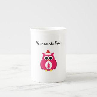 Búho rosado oscuro de santa tazas de china