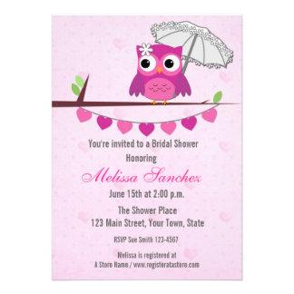 Búho rosado paraguas invitación nupcial de la du